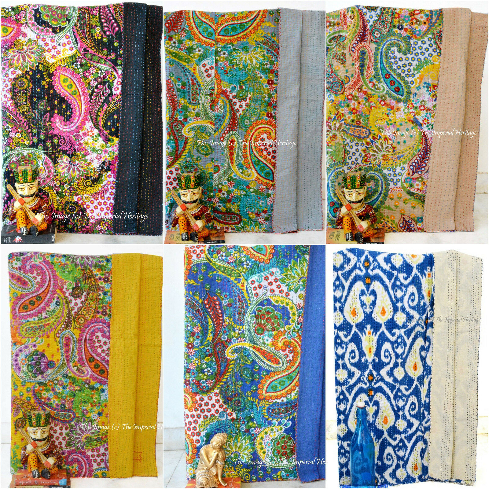 Christmas Gift Queen Handmade Indian Cotton Floral Kantha Quilt Throw Bed-Cover