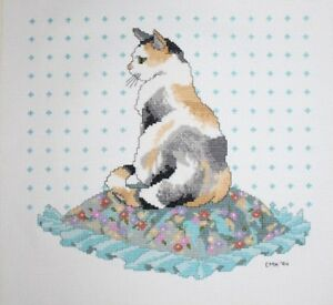 Calico-Cat-Sitting-on-Pillow-Cross-Stitch-Completed-Finished-Unframed