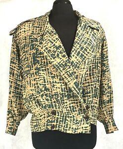 Linda-Allard-for-Ellen-Tracy-Womens-Petite-100-Silk-Olive-Green-amp-Tan-Blazer-S