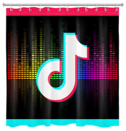 """71/"""" Tik Tok Shower Curtain /& Hooks Musical Party Themed Bathroom Accessory Sets"""
