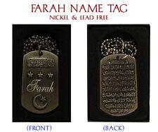 """FARAH"" Arabic Name Necklace Tag - Birthday Wedding Ayatul Kursi Eid Gifts"
