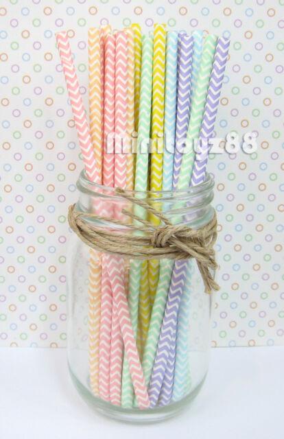 Mixed Rainbow Pastel Polka Dot Carnival Christmas Halloween Paper Straws Baby