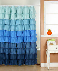 Ruffle Fabric Shower Curtain Color Blue Dark Blue