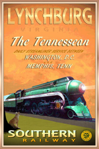 Lynchburg VA Tennessean Southern Railway PS4 Pacific Train Poster Art Print 291