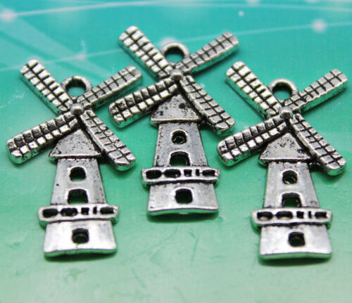 10//30pcs style rétro Windmill Alliage Charms Pendentif 27x16mm