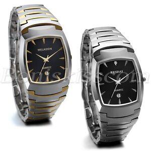 Luxury-Business-Date-Watch-Tungsten-Carbide-Band-Men-039-s-Analog-Quartz-Wrist-Watch
