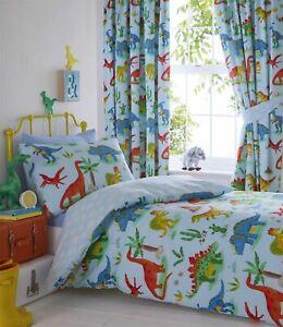 Boys-Girls-Childrens-Dinosaurs-Blue-Reversible-Duvet-Cover-Blackout-Curtains