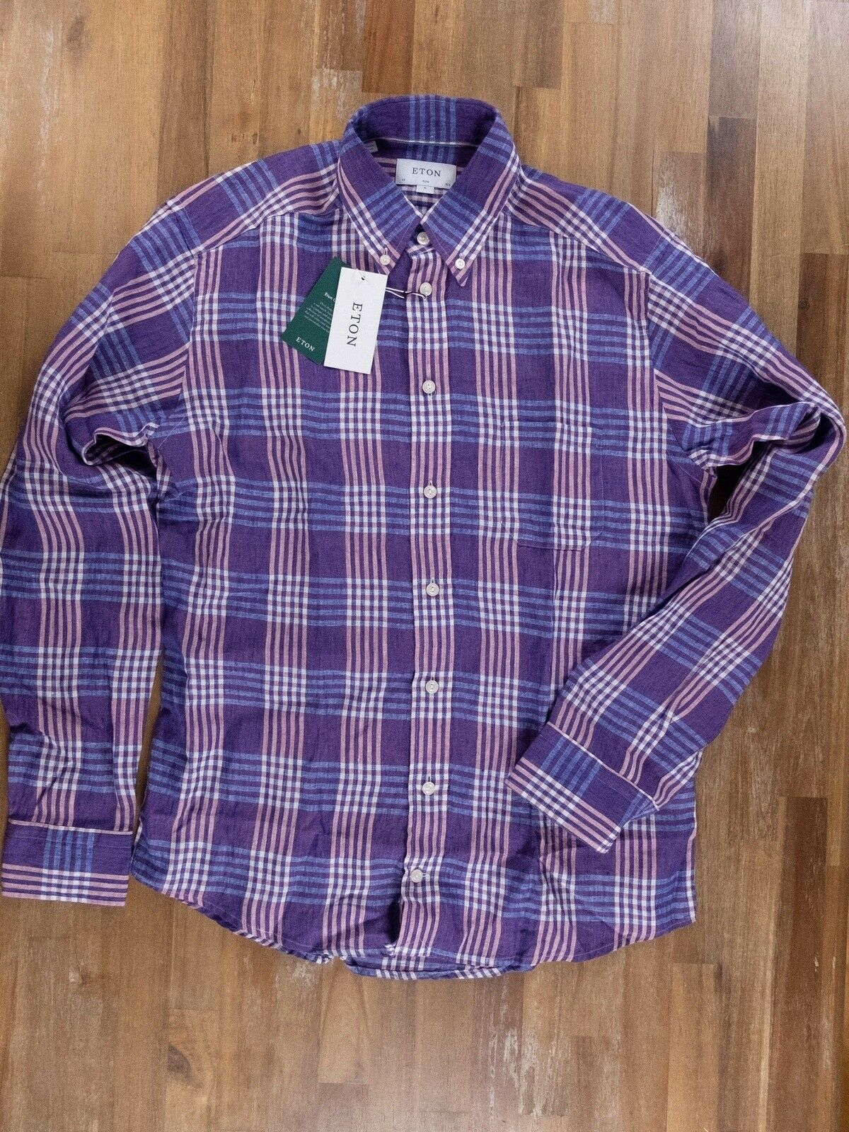 ETON of Sweden slim-fit plaid lila linen shirt authentic - Größe 39   15.5 -NWT
