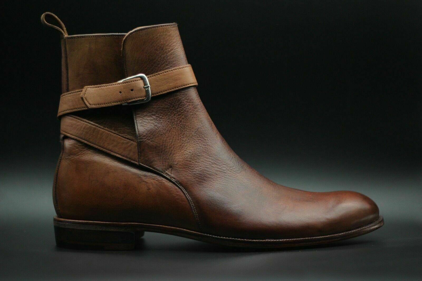 Mens Handmade Boots Genuine Brown Leather Ankle Buckle Strap Casual Formal shoes