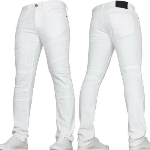Blanc Homme Skinny Jeans Stretch Biker Jeans Von Denim Tailles 30 32 34 36 38