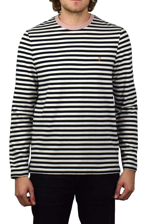 Farah Trafford Striped Long-Sleeved T-Shirt (True Navy)