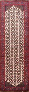 Excellent Vintage Geometric Mahal Ivory Runner Rug Hand-knotted Oriental 3'x10'