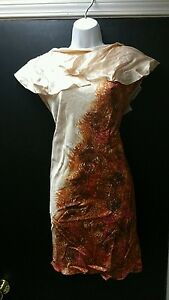 NWOT-TED-BAKER-Multicolor-Silk-Marble-Print-Pleated-Detail-Dress-Sz-3-rt-330