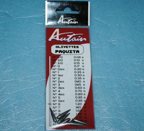 6 olivettes Paquitta de pêche AUTAIN poids au choix de 0.08g à 3g neuf