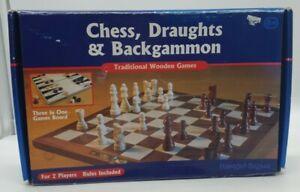 Hawkins-bazar-en-bois-Chess-Set-Jeu-de-plateau-Dames-Backgammon-Dames