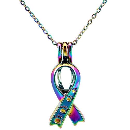 Rainbow Color Ruban Chaton Chat Empreinte perles cage médaillon-Collier C646