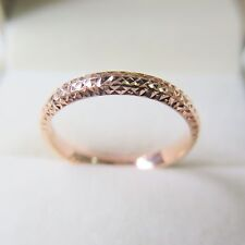 New Hot Sale Pure 18K Rose Gold Ring Woman Fine Carved Lucky Ring For Lover US 7