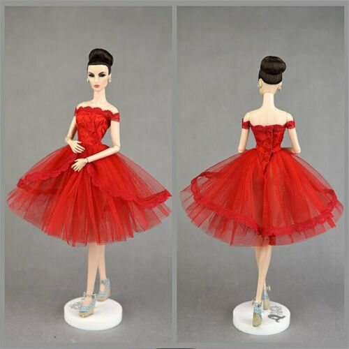 """Red Lace Princess Dress for 11.5/"""" Doll Outfits Clothes Party Dresses Accessories"""