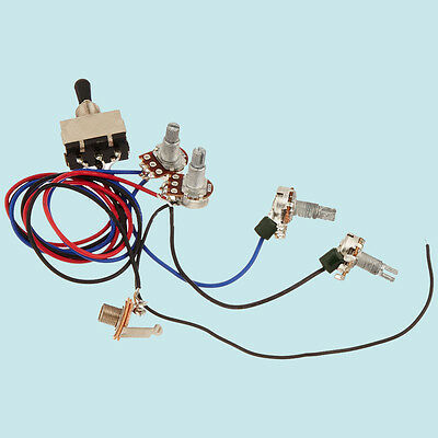 guitar wiring harness kit 2v2t 3 way toggle switch for gibson lespaul input jack 190891094025 ebay. Black Bedroom Furniture Sets. Home Design Ideas