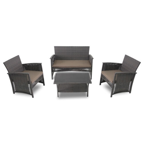 4 PIECE WOVEN WICKER PATIO SET NEW SOFA /& GLASS TOP TABLE SET RATTAN CHAIRS