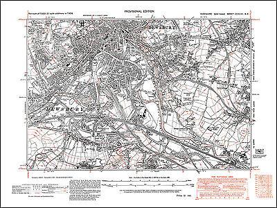 OLD ONE INCH MAP CALDERDALE HUDDERSFIELD 1902 ALMONDBURY DEWSBURY HALIFAX