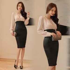 hot sale online 7d7bf b0528 Dettagli su Elegante vestito abito tubino manica lunga beige nero scollato  morbido 4709