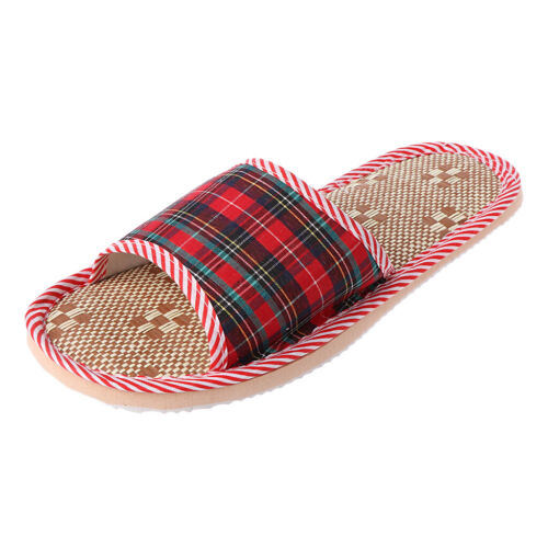 Unisex Linen Flax Plaid House Flat Slipper Indoor Home Cozy Open Toe Scuffs New