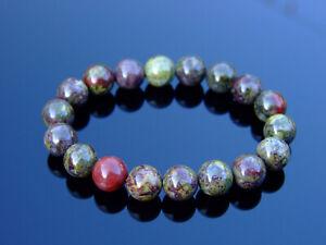 Dragon Blood 10mm Natural Gemstone Bracelet 6-9'' Elasticated Healing Stone Chak