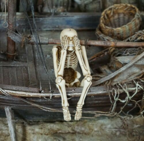 """Miniature Dolls House Accessories Sitting Skeleton  /""""See No Evil/""""  1:12th scale"""