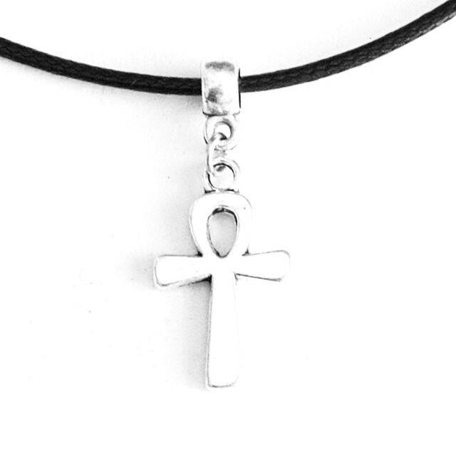 Egyptian Ankh Cross Charm Pendant Choker Necklace with Black Cord