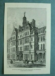 L1e) Holzstich Bloomsbury London 1885 Hospital for Paralysed Epileptic 13x21cm