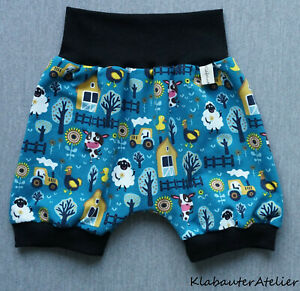 Pantaloni-Pump-brevemente-Petrol-fattoria-paese-animali-handmade-taglia-56-62-68-74-80-86-92-98-104