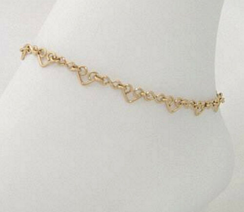 """Ankle Bracelet Gold or Silver With Heart and Figure /""""8/"""" Links #700//701 Anklet"""