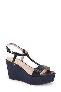 c1e92cddc42 NWT Kate Spade New York Tallin Navy Vacchetta Wedge Sandals Shoes ...
