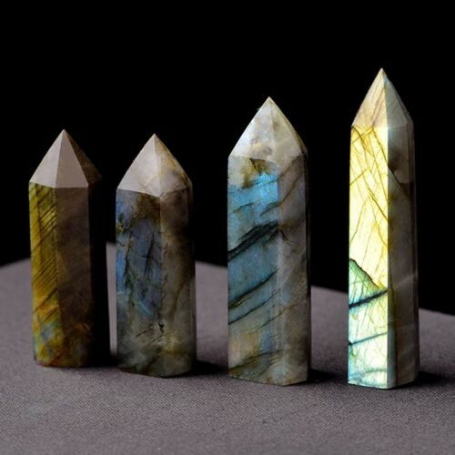 Natural`Labradorite Moonstone Quartz Crystal Stone Point Healing HexagonalE JH
