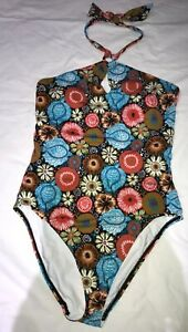 NEW-Ann-Taylor-Loft-Beach-Floral-Halter-One-Piece-Swimsuit-Size-16