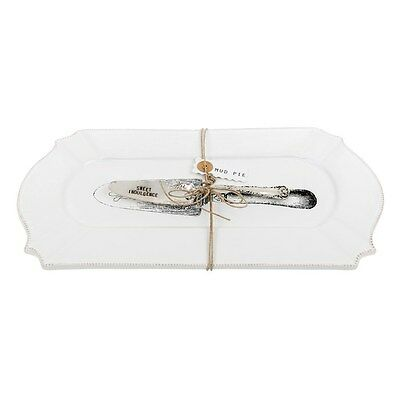 Large Traditional Rectangular Serving Platter with Cake Server / Slice * Gift