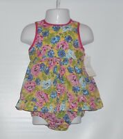 American Living Infant Girls Floral Pinafore Dress + Panty Set Yellow 6m