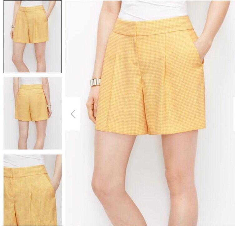 Ann Taylor Metro Dot Drapey Shorts Dandelion Yellow Size 10 Nwt  59