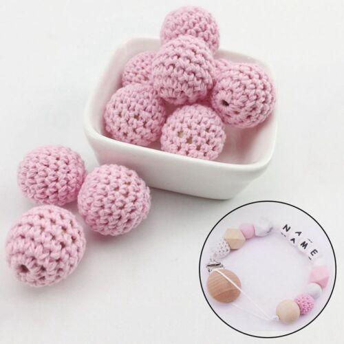Crochet Wood Beads Baby DIY Teething Jewelry Chew Necklace Teether Mak11t