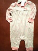 Koala Baby Girls Organic Cotton Jumpsuit Ivory/pink/green Flowers Select A Size