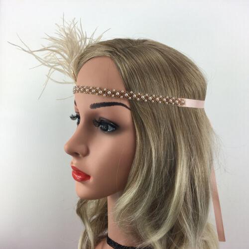 Vintage Crystal Pearls Feather Headband 20s  Flapper Headpiece Costume