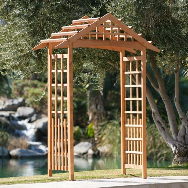 Garden Arbor Patio Archway Wedding Arch Wood Trellis Backyard 8 Foot Outdoor