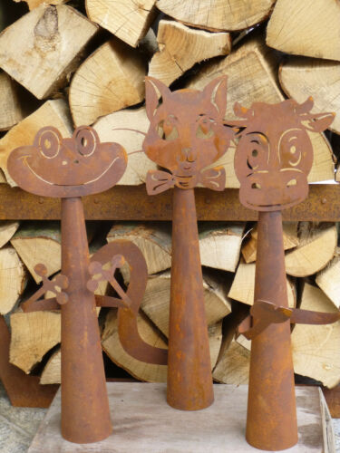 Edelrost Zaungucker Katze  Zaunhocker Metall Zaun Figur Dekoration  Rost Beet