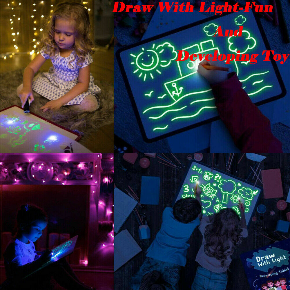 Light Drawing Board Sketch Pad Doodle Writing Craft Art for Children Kid Gift US 2
