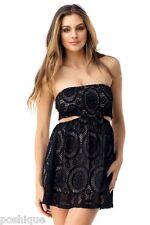 Sky Clothing Brand S Mini Dress NWT $189 Intandehui Side Cutouts Nude Black Lace