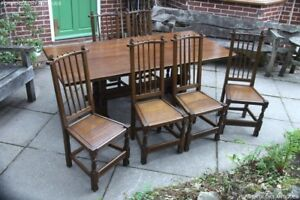 NIGEL-RUPERT-GRIFFITHS-SOLID-CARVED-OAK-DINING-SET-TABLE-amp-SIX-STICK-BACK-CHAIRS