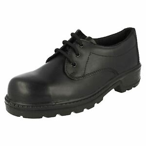 "MENS LEATHER BLACK TOTECTORS SAFETY SHOES ""3038"""