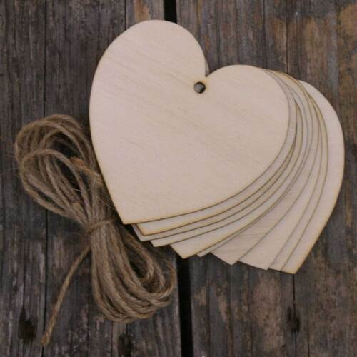 10x Wooden Curvaceous Heart Craft Shape 3mm Ply