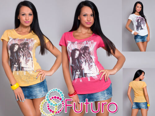 Women/'s Casual Top EVER Print Scoop Neck Short Sleeve T-Shirt Sizes 8-14 MM15
